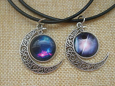 Black Leather Choker Necklace Moon Crescent with Glass Cameo Charms Pendant