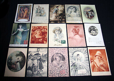Lot A55 : 15 Cpa Dessin Illustration Miss Pin-Up Mode Charme Elegance 1900