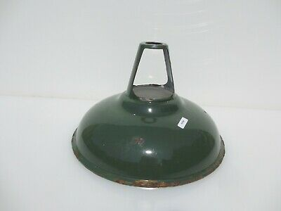 "Vintage Enamel Light Shade Old Industrial Factory Antique Art Deco Iron 11""W"