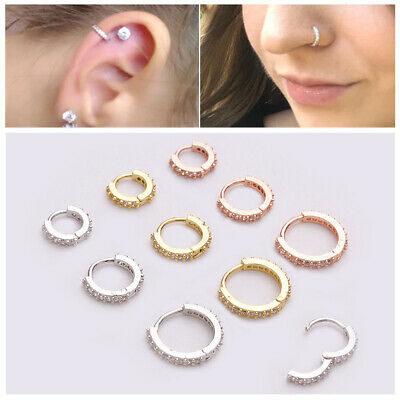 Septum Clicker Nose Ear Ring Hoop Studs Captive Piercing Helix Tragus Opal.