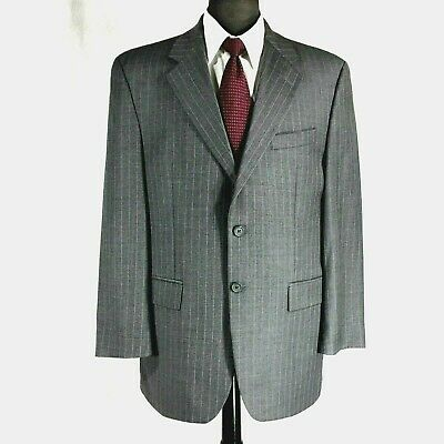 Chaps Ralph Lauren mens gray wool cashmere pin striped suit pleated cuffed 41R