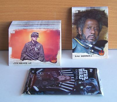 Star Wars Rogue One 90 card base set + sealed hobby medallion pack. Series 1