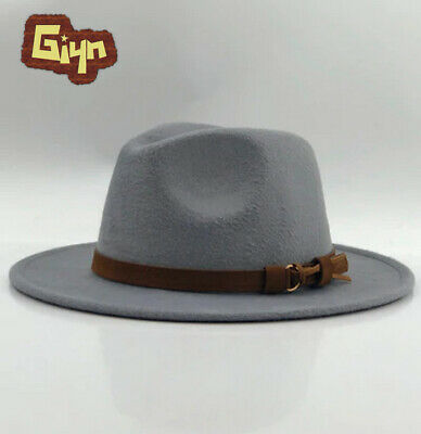 Men Wool Fedora Hat Leather Ribbon Winter Autumn Wide Brim Jazz Church Panama