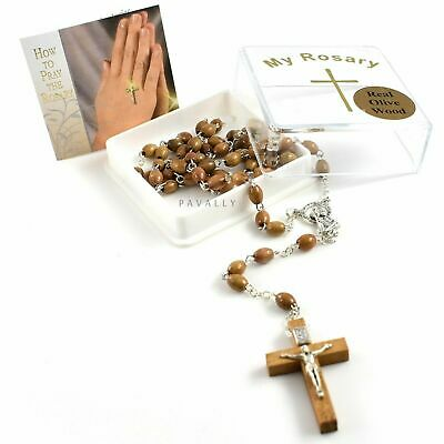 BROWN WOODEN ROSARY NECKLACE prayer OLIVE WOOD beads Catholic Crucifix BOXED NEW