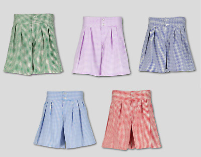 Girls Gingham Pleated School Shorts High Waist Culotte Ages 3-12 (s)
