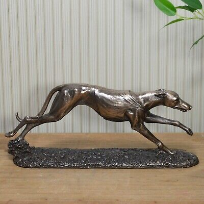 Bronze Racing Greyhound Standing Statue Whippet Sculpture Dogs Cold Cast 31037