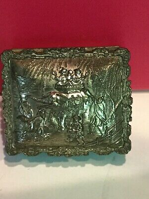 Vintage Metal Trinket Box Silver Color Japan Orient Graphics With Elephant