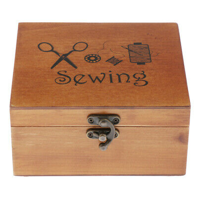 Wooden Sewing Basket Box with Accessories Good Gift for Adults/Kids/Beginner