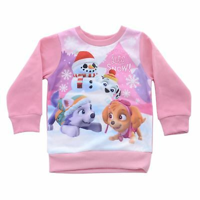 Girls Pink Paw Patrol Kids Christmas Jumper Sweater With Skye And Everest Print