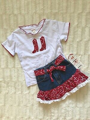 NWT Kiddie Korral Size 2T Denim & Red Bandana Western Jean Skirt Cowgirl Outfit