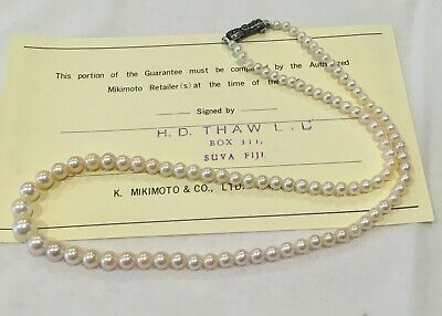 VINTAGE CIRCA 1950's MIKIMOTO GRADUATED AKOYA PEARL NECKLACE MARCASITE SIL CLASP