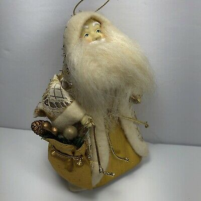 Santa Claus Christmas Ornament Winter White and Metallic Gold 5.5 Inches
