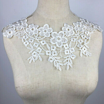 Black Embroidered Floral Lace Neckline Neck Collar Collars Trim Cloth Sewing DIY