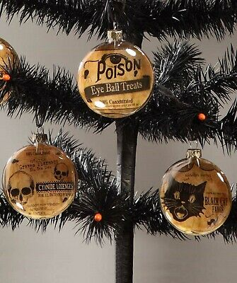 Bethany Lowe Set of 3 Different Halloween Glass Disc Ornaments LG4347 New