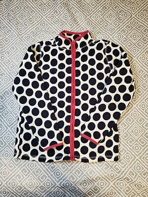 Oshkosh B'Gosh Zip Front Jacket Girls Sz 12 Fleece Long Sleeve polka dot