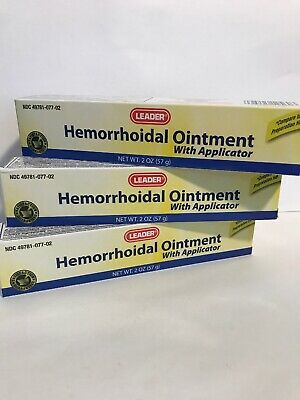 Leader Hemorrhoidal Ointment with Applicator 2 oz - 3-Pack. New. Exp Date: 01/21