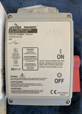 NEW Leviton DS30-AX Safety Disconnect Switch, 30 AMP, 600 Volt