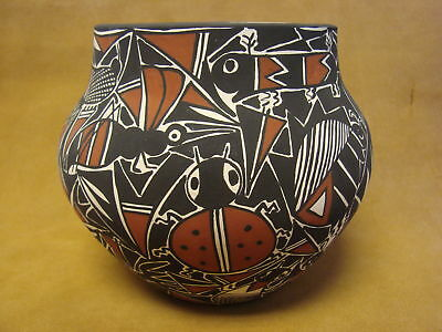 Native American Acoma Nature Vase Hand Painted by C. Estevan