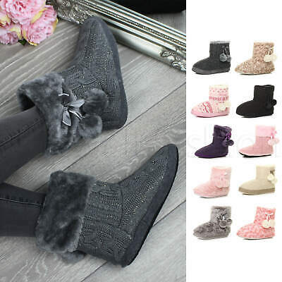 Womens ladies pom pom fur comfort knitted ankle boots house slippers booties