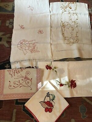 Lot Vintage  Small Tablecloths, Railroad Tablecloth, & Runners  9 Items