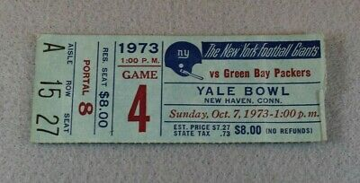1973 NY GIANTS vs GREEN BAY PACKERS Original NFL YALE BOWL TICKET
