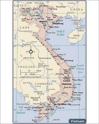 """10""""x8"""" (25x20cm) Print of Vietnam country map from"""