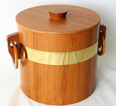 Vintage TEAK Wood ICE BUCKET RETRO! Mad Men