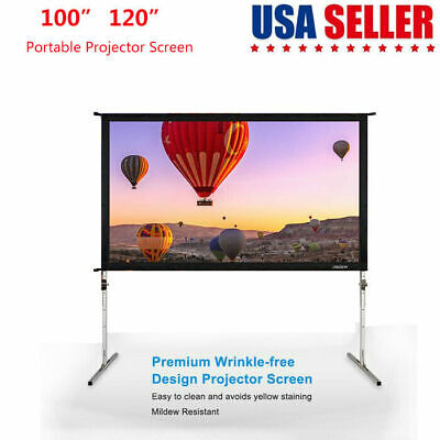 """Leadzm Projector Screen 100"""" 120"""" 16:9 Folding Outdoor Indoor Portable w/ Stand"""