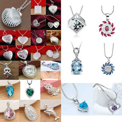 Lot Fashion 925 Silver Mystic Topaz Crystal Pendant Jewelry for Women's Necklace