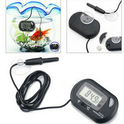 Black LCD Digital Fish Tank Reptile Aquarium Water Meter Thermometer Temperature