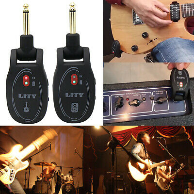 UHF Guitar Wireless System Transmitter Receiver Rechargeable Battery 50m Range