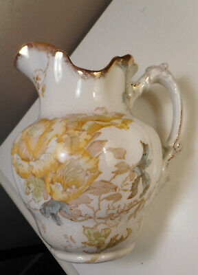 Antique Maddock's Lamberton,Porcelain, Flower Pattern Water Pitcher & match Vase