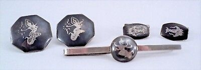 Vtg Siam Sterling Silver Black Enamel 2 Pr CUFF LINKS & TIE BAR SET Thai Dancer