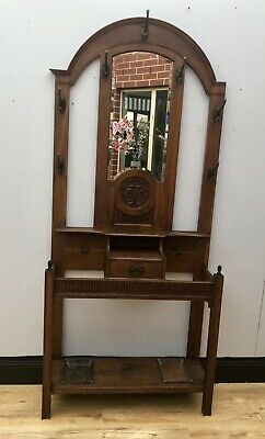 Antique Timber Hall Stand With Mirror & Drawer Gorgeous Carvings 1910 QZZQ