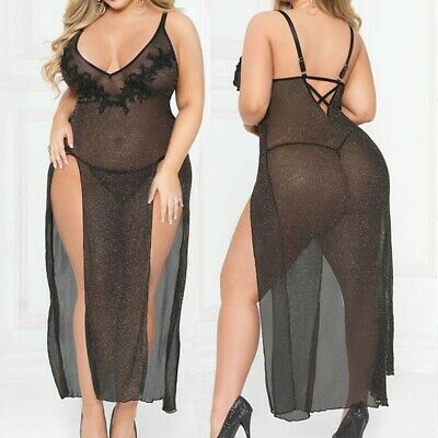 Women Plus Size Lace Mesh Sexy Lingerie Underwear Nightdress G-String Thong