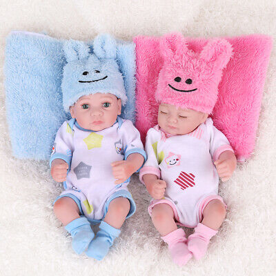 10''Twins Mini Reborn Washable Full Body Vinyl Newborn Baby Girl Doll Gifts