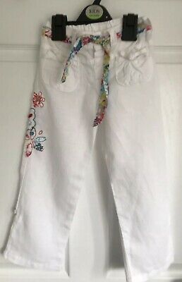 Girls White Cotton Mix Autograph By Marks And Spencer Trousers - Age 3-4yrs