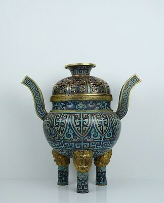 A Large Chinese Cloisonne Tripod Censer and Cover