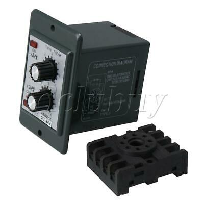 Plastic 24V DC Timer Repeat Cycle Time Relay 12-12Min Adjust On Off Knob