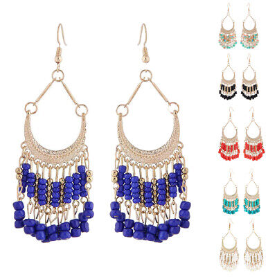 Long Tassel Earrings Women Ethnic Bohemian Fringe Beads Dangle Drop Earring New