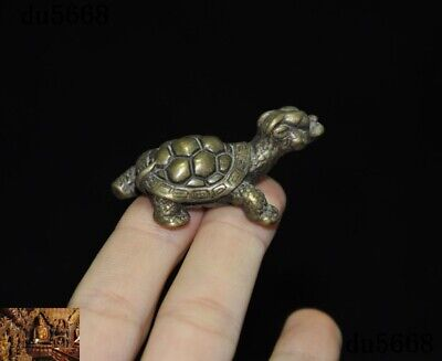 Old Chinese Feng Shui pure Bronze longevity lucky animal turtle tortoise statue