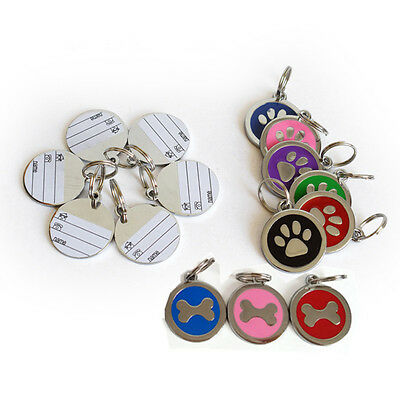 Personalised Dog Tags Engraved Cat Puppy Pet ID Name Collar Tag Bone Paw CP