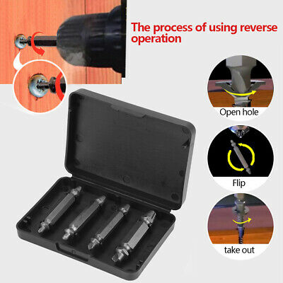 4pcs Screw Extractor Drill Bits Guide Set Broken Damaged Bolt Remover With Box