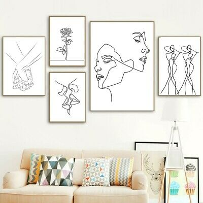 1PC Unframed Abstract love Couple Line Drawing Nordic Poster Canvas Printing