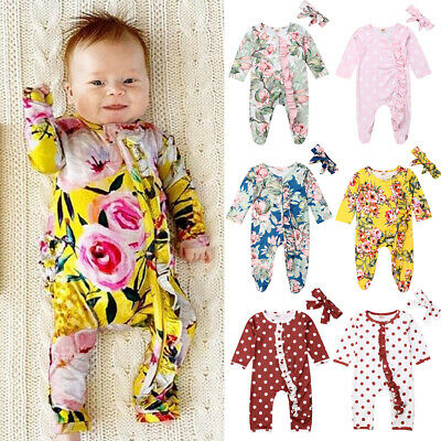 US Newborn Baby Girl Flower Clothes Long Sleeve Romper Jumpsuit Autumn Outfits