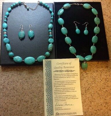 PUBLISHERS CLEARING HOUSE PCH Lot 2 Necklace + Earrings Turquoise Silver  Tone