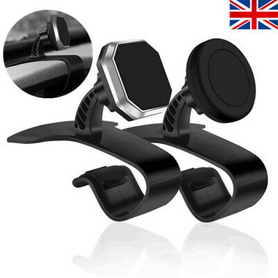 Universal Magnetic 360 Mobile Phone Holder Dashboard Clamp GPS Mount In Car Dash