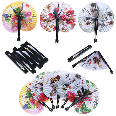 1x Chinese Paper Folding Hand Fan Oriental Floral Peacock Party Wedding Gifts