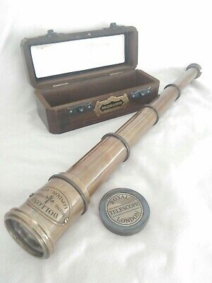 BRASS FOUR DRAW TELESCOPE WITH BOX. ANTIQUE  STYLE FINISH.42cm  New.