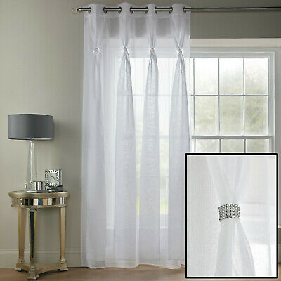 White Diana Dolly Diamante Sheer Voile Net Curtain Eyelet Ring Top Single Panel